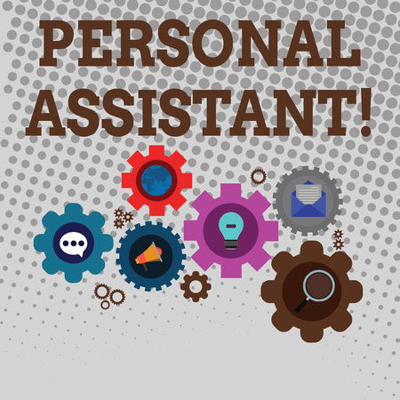 Handwriting text writing Personal Assistant. Conceptual photo administrative assistant working exclusively for a demonstrating Set of Global Online Social Networking Icons Inside Colorful Cog Wheel Gear
