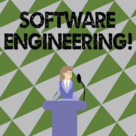 Text sign showing Software Engineering. Business photo showcasing apply engineering to the development of software Businesswoman Standing Behind Podium Rostrum Speaking on Wireless Microphone