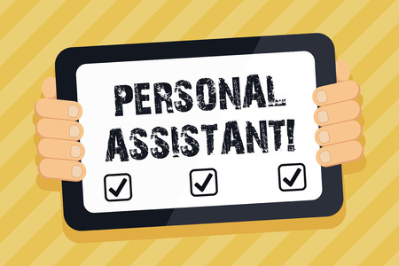 Text sign showing Personal Assistant. Business photo text administrative assistant working exclusively for a demonstrating Color Tablet Smartphone with Blank Screen Handheld from the Back of Gadget Stock fotó