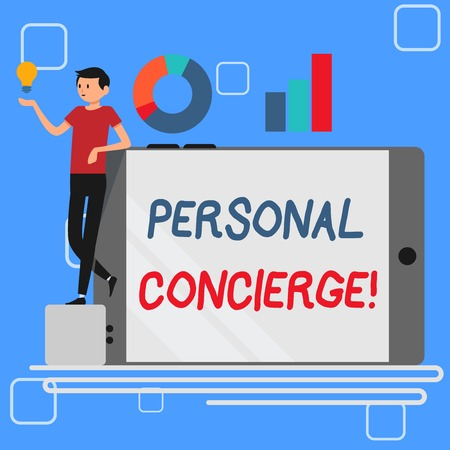 Handwriting text Personal Concierge. Conceptual photo someone who will make arrangements or run errands Man Leaning on Blank Smartphone Turned on Its Side with Graph and Idea Icon