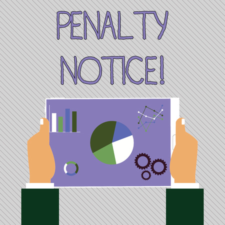 Text sign showing Penalty Notice. Business photo text the immediate fine given to showing for minor offences Hands Holding Tablet with Search Engine Optimization Driver Icons on Screen