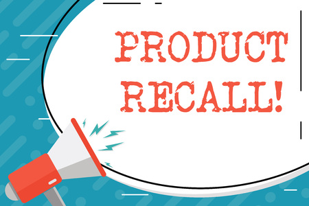 Handwriting text Product Recall. Conceptual photo process of retrieving potentially unsafe goods from consumers Blank White Huge Oval Shape Sticker and Megaphone Shouting with Volume Icon
