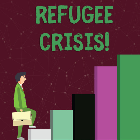 Text sign showing Refugee Crisis. Business photo text refer to movements of large groups of displaced showing Businessman Carrying a Briefcase is in Pensive Expression while Climbing Up Stockfoto