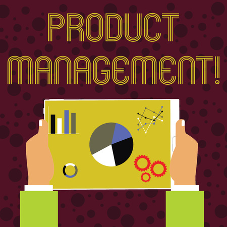 Word writing text Product Management. Business photo showcasing organisational lifecycle function within a company Hands Holding Tablet with Search Engine Optimization Driver Icons on Screen