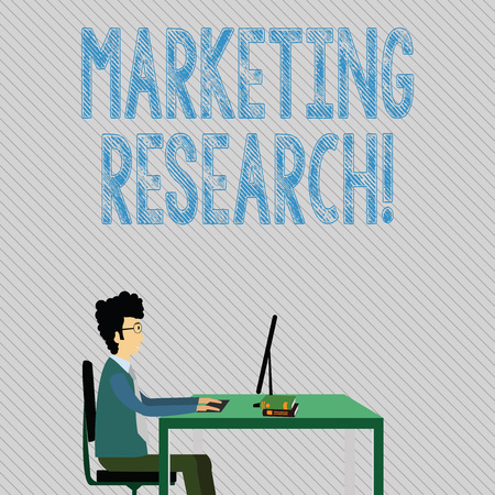 Text sign showing Marketing Research. Business photo showcasing process of determining the viability of a new service Businessman Sitting Straight on Chair Working on Computer and Books on Table