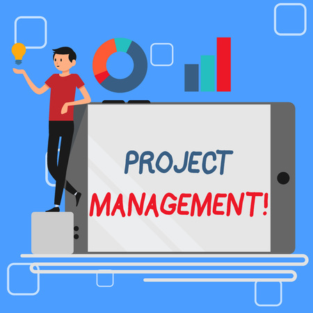 Handwriting text Project Management. Conceptual photo method of organizing all activities related to a project Man Leaning on Blank Smartphone Turned on Its Side with Graph and Idea Icon