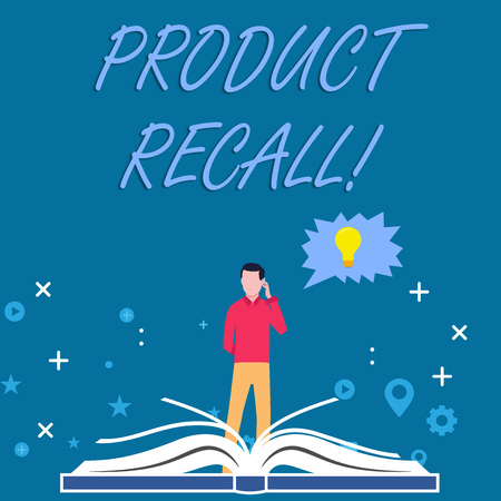 Writing note showing Product Recall. Business concept for process of retrieving potentially unsafe goods from consumers Man Standing Behind Open Book Jagged Speech Bubble with Bulb