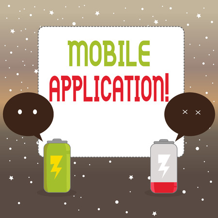 Handwriting text writing Mobile Application. Conceptual photo application software designed to run on a mobile device Fully Charged and Discharged Battery with Two Colorful Emoji Speech Bubble