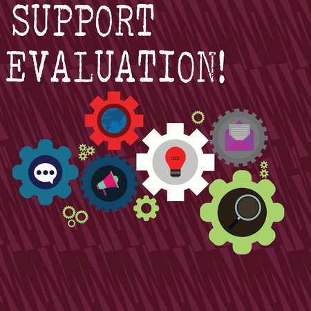 Word writing text Support Evaluation. Business photo showcasing Assisting process that critically examines a program Set of Global Online Social Networking Icons Inside Colorful Cog Wheel Gear