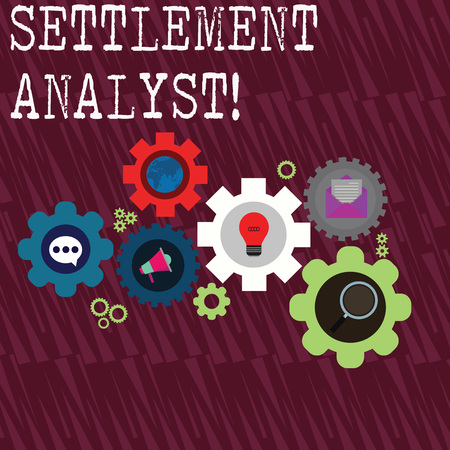 Word writing text Settlement Analyst. Business photo showcasing Negotiate settlement using the most effective means Set of Global Online Social Networking Icons Inside Colorful Cog Wheel Gear