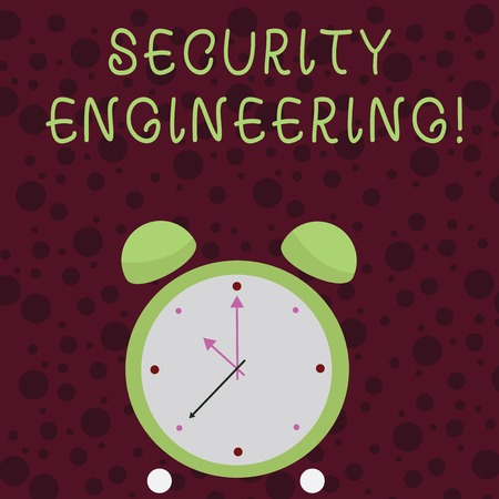 Word writing text Security Engineering. Business photo showcasing focus on the security aspects in the design of systems Colorful Round Analog Two Bell Alarm Desk Clock with Seconds Hand photo