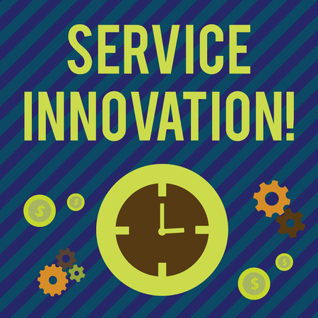 Text sign showing Service Innovation. Business photo showcasing changing the way you serve better your customers Time Management Icons of Clock, Cog Wheel Gears and Dollar Currency Sign