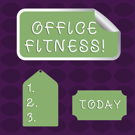 Handwriting text Office Fitness. Conceptual photo Encouraging fitness and balance lifestyle in the workplace Blank Color Label, Self Adhesive Sticker with Border, Bended Corner and Tag