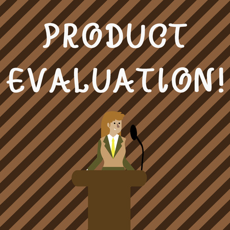 Handwriting text writing Product Evaluation. Conceptual photo viability of the product with respect to market deanalysisd Businesswoman Standing Behind Podium Rostrum Speaking on Wireless Microphone Фото со стока