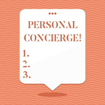 Conceptual hand writing showing Personal Concierge. Concept meaning someone who will make arrangements or run errands Blank White Speech Balloon Floating with Punched Hole on Top