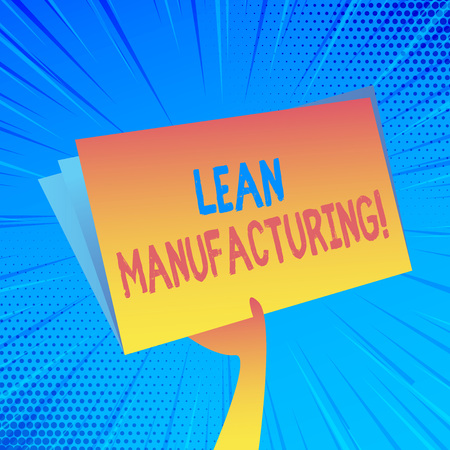 Handwriting text Lean Manufacturing. Conceptual photo focus on minimizing waste within analysisufacturing systems Hand Holding and Raising Blank Space Colorful File Folder with Sheet Inside Banco de Imagens