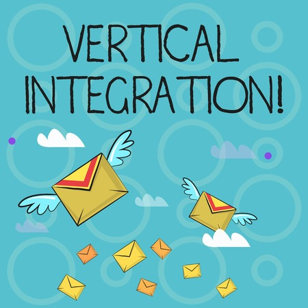 Conceptual hand writing showing Vertical Integration. Concept meaning Merger of companies at different stages of production Colorful Airmail Letter Envelopes and Two of Them with Wings