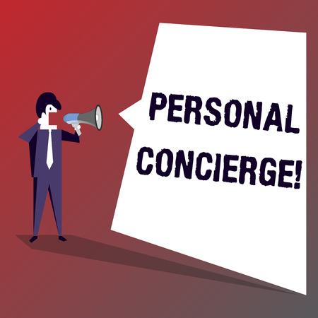 Conceptual hand writing showing Personal Concierge. Concept meaning someone who will make arrangements or run errands Businessman Shouting on Megaphone and White Speech Bubble Banco de Imagens