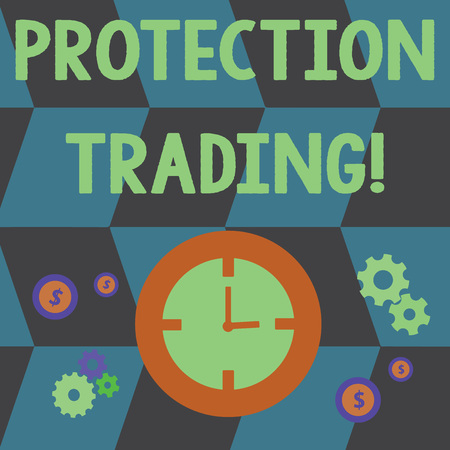 Word writing text Protection Trading. Business photo showcasing deliberate attempt to limit imports or promote exports Time Management Icons of Clock, Cog Wheel Gears and Dollar Currency Sign Stok Fotoğraf