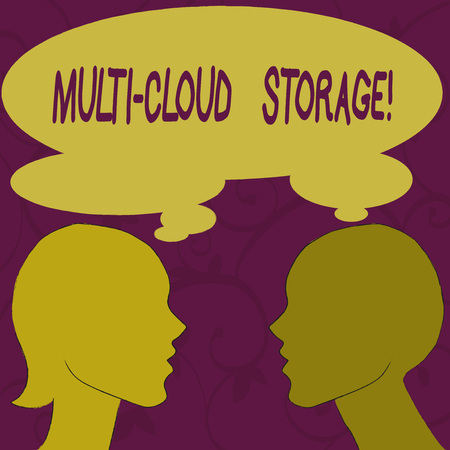 Text sign showing Multi Cloud Storage. Business photo showcasing use of multiple cloud computing and storage services Silhouette Sideview Profile Image of Man and Woman with Shared Thought Bubble 版權商用圖片