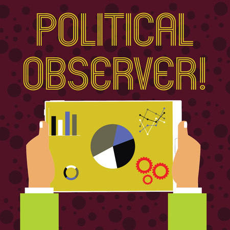 Word writing text Political Observer. Business photo showcasing communications demonstrating who surveys the political arena Hands Holding Tablet with Search Engine Optimization Driver Icons on Screen