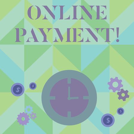 Text sign showing Online Payment. Business photo showcasing Internetbased method of processing economic transactions Time Management Icons of Clock, Cog Wheel Gears and Dollar Currency Sign