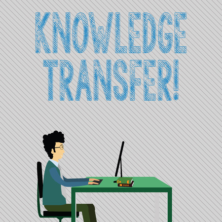 Text sign showing Knowledge Transfer. Business photo showcasing sharing or disseminating of knowledge and experience Businessman Sitting Straight on Chair Working on Computer and Books on Table Banque d'images