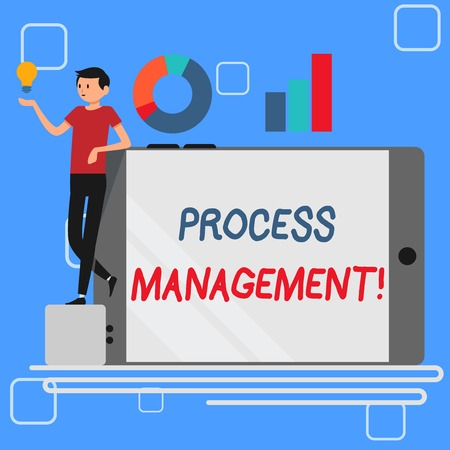 Handwriting text Process Management. Conceptual photo aligning processes with an organization s is strategic goals Man Leaning on Blank Smartphone Turned on Its Side with Graph and Idea Icon