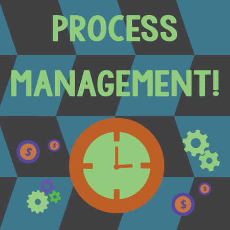 Word writing text Process Management. Business photo showcasing aligning processes with an organization s is strategic goals Time Management Icons of Clock, Cog Wheel Gears and Dollar Currency Sign Stockfoto