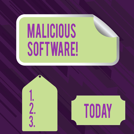 Conceptual hand writing showing Malicious Software. Concept meaning the software that brings harm to a computer system Color Label Self Adhesive Sticker with Border Corner and Tag
