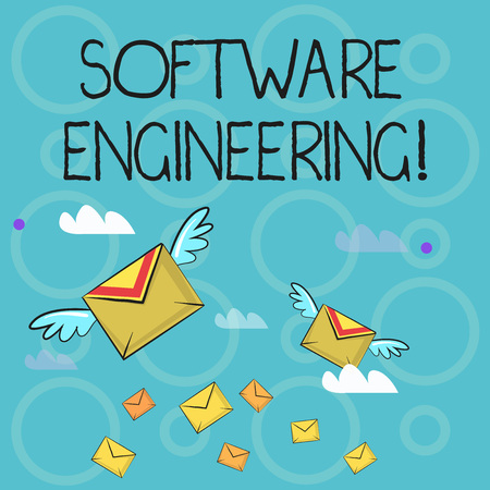 Conceptual hand writing showing Software Engineering. Concept meaning apply engineering to the development of software Colorful Airmail Letter Envelopes and Two of Them with Wings Stock fotó