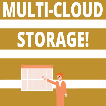 Conceptual hand writing showing Multi Cloud Storage. Concept meaning use of multiple cloud computing and storage services Businessman Smiling and Pointing Calendar with Star on Wall