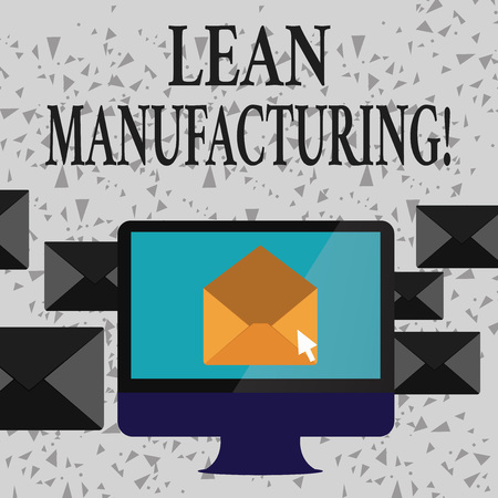 Word writing text Lean Manufacturing. Business photo showcasing focus on minimizing waste within analysisufacturing systems Open Color Envelope inside Computer Screen. Letter Casing Surrounds the PC 写真素材