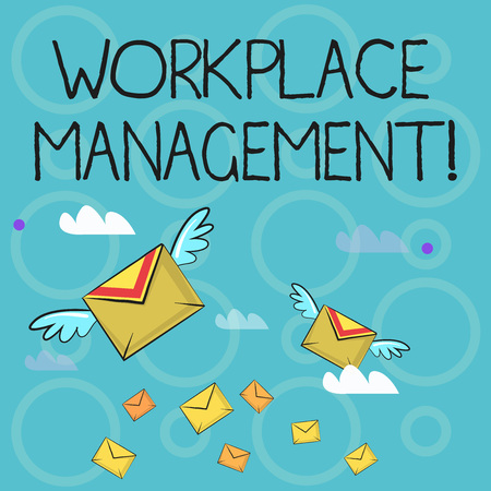 Conceptual hand writing showing Workplace Management. Concept meaning organizing things surrounding you in your working space Colorful Airmail Letter Envelopes and Two of Them with Wings