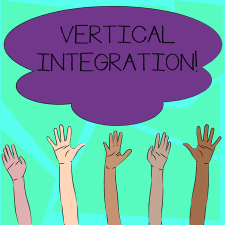 Word writing text Vertical Integration. Business photo showcasing Merger of companies at different stages of production Multiracial Diversity Hands Raising Upward Reaching for Colorful Big Cloud