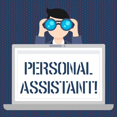 Handwriting text Personal Assistant. Conceptual photo administrative assistant working exclusively for a demonstrating Man Holding and Looking into Binocular Behind Open Blank Space Laptop Screen Stock fotó