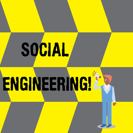 Text sign showing Social Engineering. Business photo text attack photo that relies heavily on huanalysis interaction Businessman Looking Up, Holding and Talking on Megaphone with Volume Icon Foto de archivo