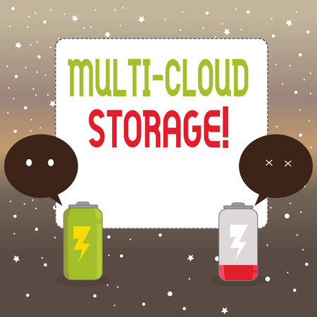 Handwriting text writing Multi Cloud Storage. Conceptual photo use of multiple cloud computing and storage services Fully Charged and Discharged Battery with Two Colorful Emoji Speech Bubble 版權商用圖片