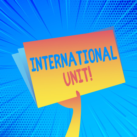 Handwriting text International Unit. Conceptual photo the internationally accepted amount of a substance Hand Holding and Raising Blank Space Colorful File Folder with Sheet Inside Banco de Imagens