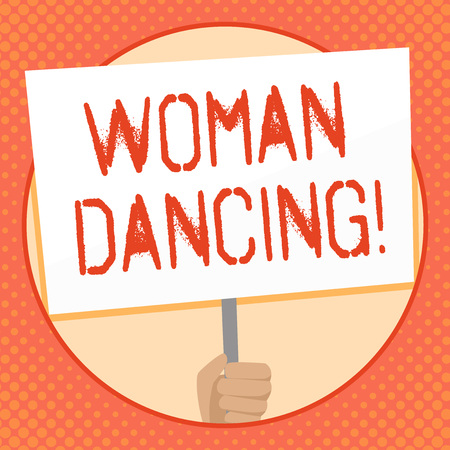 Writing note showing Woanalysis Dancing. Business concept for confident woanalysis that dances gracefully and professionally Hand Holding White Placard Supported for Social Awareness Stockfoto