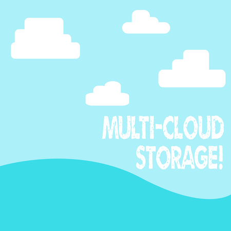 Word writing text Multi Cloud Storage. Business photo showcasing use of multiple cloud computing and storage services photo of Landscape View of Digitally Drawn Clouds and Plane Hills 版權商用圖片