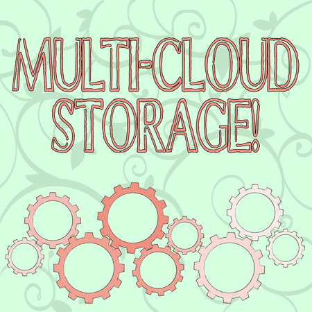 Writing note showing Multi Cloud Storage. Business concept for use of multiple cloud computing and storage services Colorful Cog Wheel Gear Engaging, Interlocking and Tesselating 版權商用圖片