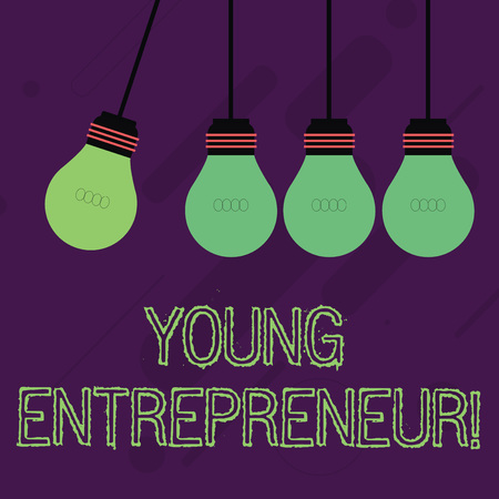 Writing note showing Young Entrepreneur. Business concept for someone that started their own business at young age Color Pendant Bulb Hanging with One Different Shade Lightbulb
