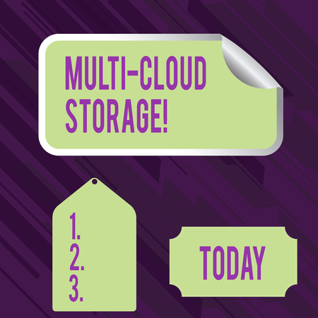 Conceptual hand writing showing Multi Cloud Storage. Concept meaning use of multiple cloud computing and storage services Color Label Self Adhesive Sticker with Border Corner and Tag