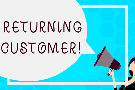 Text sign showing Returning Customer. Business photo text customer returns again and again to purchase a good Huge Blank Speech Bubble Round Shape. Slim Woman Holding Colorful Megaphone