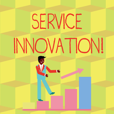 Handwriting text Service Innovation. Conceptual photo changing the way you serve better your customers Smiling Businessman Climbing Colorful Bar Chart Following an Arrow Going Up