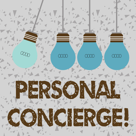Word writing text Personal Concierge. Business photo showcasing someone who will make arrangements or run errands Color Incandescent Pendant Bulb Hanging with One Different Shade Lightbulb