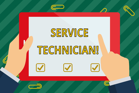 Word writing text Service Technician. Business photo showcasing Managing all on site installation and repair task Hand Holding Pointing Touching Blank Rectangular Color Tablet White Screen