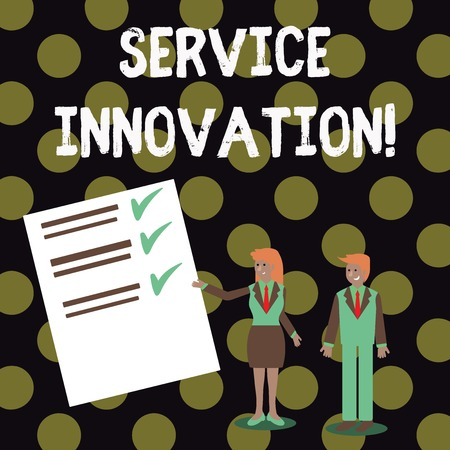 Text sign showing Service Innovation. Business photo showcasing changing the way you serve better your customers Man and Woman in Business Suit Presenting Report of Check and Lines on Paper