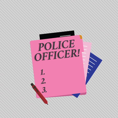 Text sign showing Police Officer. Business photo showcasing a demonstrating who is an officer of the law enforcement team Colorful Lined Paper Stationery Partly into View from Pastel Blank Folder